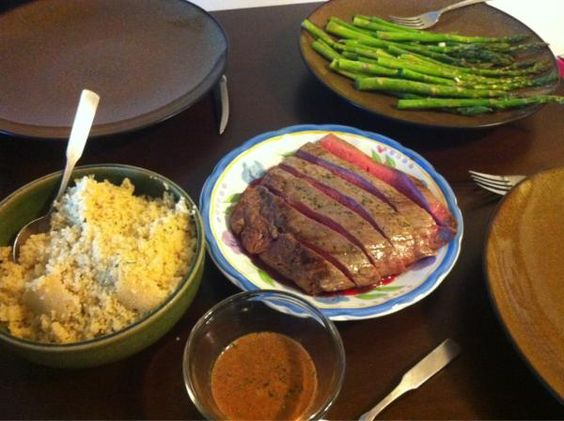Dinner from Monday -- Pan-Grilled Flank Steak with Soy-Mustard Sauce ...