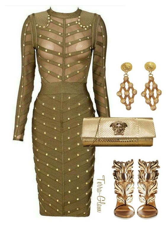 """""""Gold Goddess"""" by terra-glam ❤ liked on Polyvore featuring Giuseppe Zanotti, Versace, women's clothing, women's fashion, women, female, woman, misses, juniors and versace"""