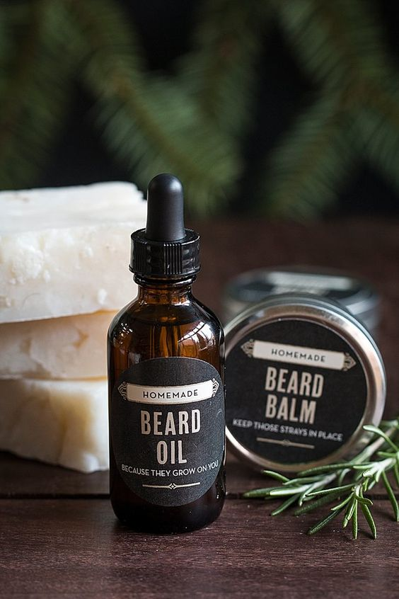 Awesome homemade gifts for guys: beard oil kit including beard balm, beard oil and whisker wash from www.evermine.com