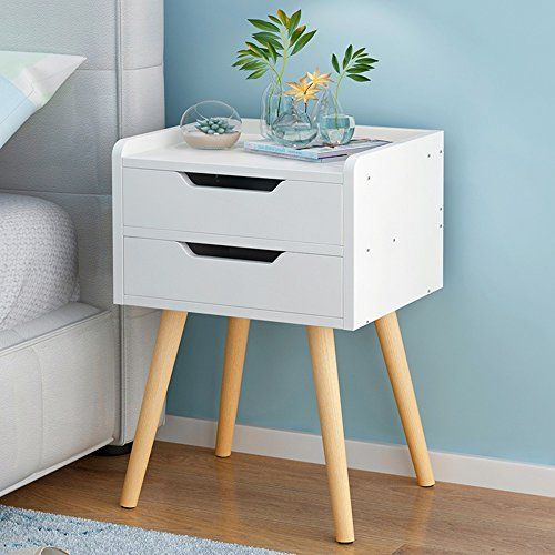 Bedside Table Xiaodong Bedroom Lockers Multifunction Bedside Storage Cabinet 2 Drawers High Foo Bedside Table White Wood Bedroom Night Stands Simple Nightstand