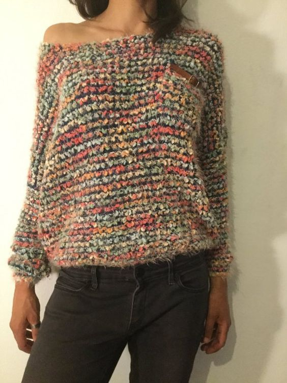 Items similar to Vintage 80s - multicolor soft Jersey size M soft /fluffy Xmas Christmas party on Etsy