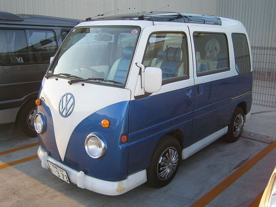 1995 Subara Sambar -- volkswagen bus Type II copycat....  I know I'm obsessed with buses, but I couldn't care less about the authenticity, I just love their style. I think that if they made the new prototype look like this, but with barn doors, I'd be fairly satisfied.