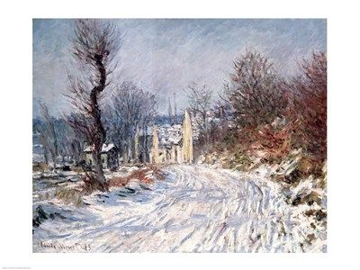 The Road to Giverny, Winter, 1885, Art Print by Claude Monet