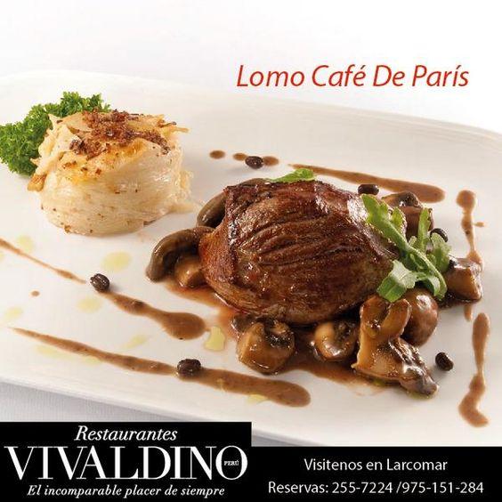 #AntojitoDelDía Lomo Café París en Vivaldino te ofrecemos los mejores platos, y además contamos con Business Lunch de L-V de 12 a 4pm.  Incluye Bebida, Entrada, y Plato de Fondo.  A solo 50 soles Incluidos el IGV.
