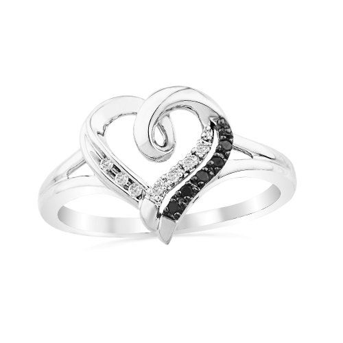 Platinum Plated Sterling Silver Black And White Round Diamond Heart Ring (1/20 cttw)