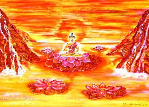 Reflections of a Buddha on the Lotus Sea by Rika Dehombreux Oil ~ 75 cm x 100 cm