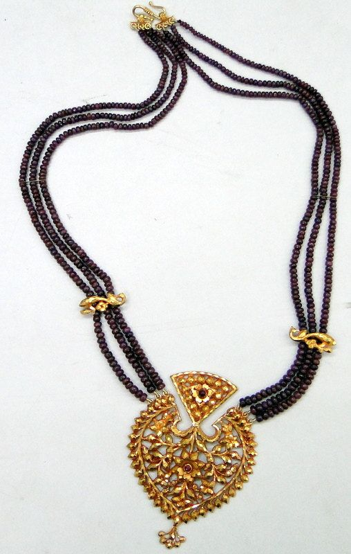 Antique 22 K Gold ruby bead necklace vintage by ...