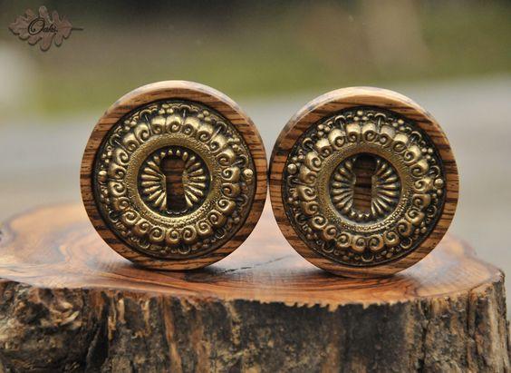Zebra wood plugs with brass keyhole inlays by Oaks Plugs.