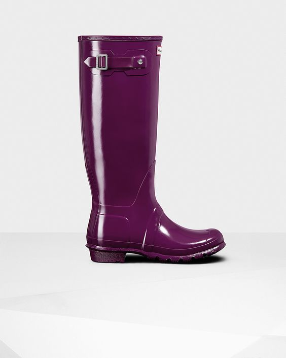 Womens Purple Tall Gloss Rain Boots | Official US Hunter Boots