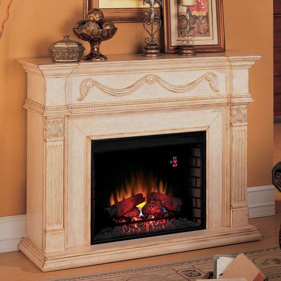 "Cabinet Mantel: Gossamer 28"" Antique Ivory Electric Fireplace Cabinet"