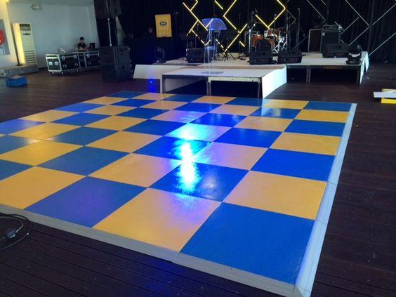 blue & yellow painted dance floor