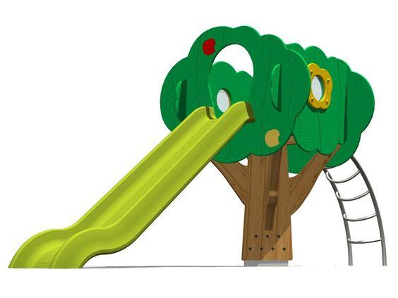 Structure ludique / Toboggan en polyéthylène TREE TOWER 150-3 Collection Trees by Legnolandia