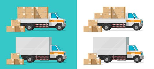Cargo Truck Loading Parcel Package Boxes Or Delivery Van Vehicle