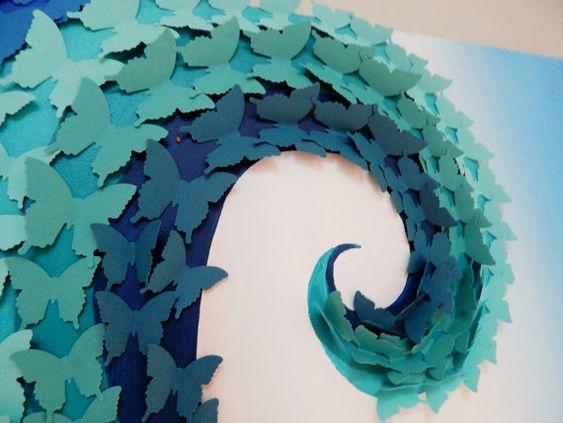 Ocean Scene Canvas - Waves - Butterfly Art - 3D Butterflies over ...