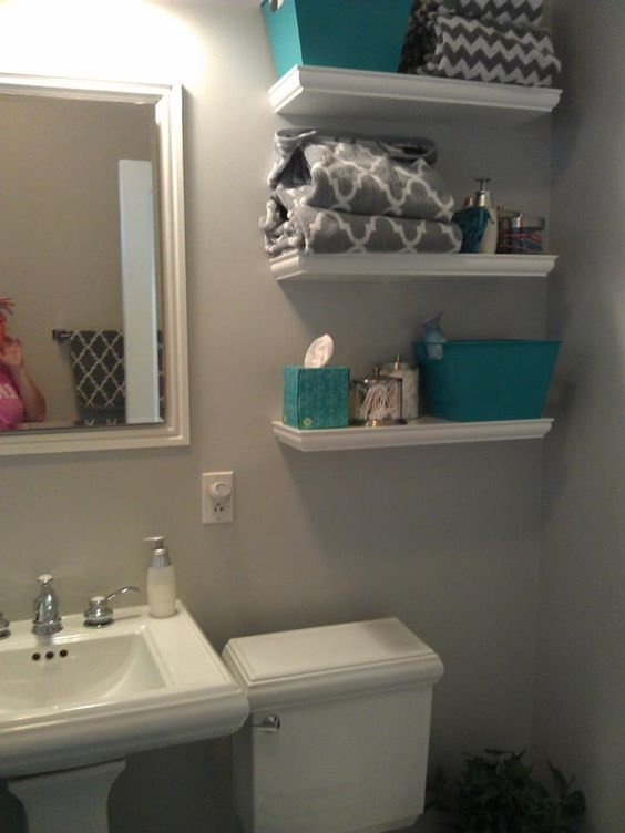 Updated my bathroom west elm gray chevron shower curtain for Teal and gray bathroom ideas