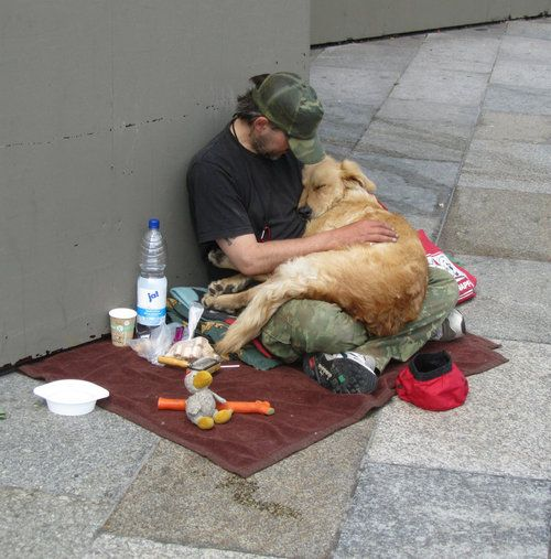 This is so touching. A homeless who is barly able to take care of himself, taking care of a dog. Sometimes, you just need a little love, not just things.