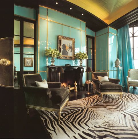 glamorous turquoise and zebra, with a yellow high gloss ceiling, wow!
