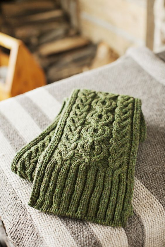 Guilder by Jared Flood, cabled scarf with ribbed trim, pattern available from Brooklyn Tweed.