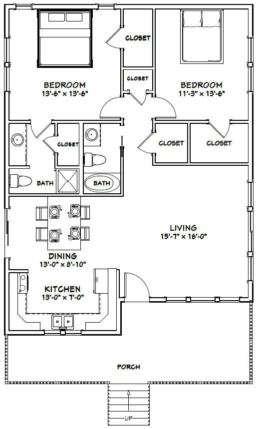 30x40 House 2 Bedroom 2 Bath 1 136 Sq Ft Pdf Floor Plan Instant Download Model 1 Metal House Plans 30x40 House Plans Small House Floor Plans