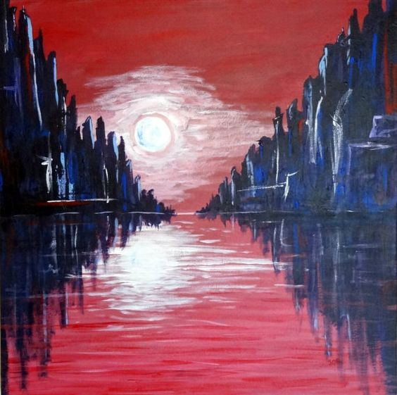 ON SALE!!! 25% off original list price!   Title: Moonshine  24 x 24 original acrylic painting of towering, moonlit cliff-facings reflected in the water below