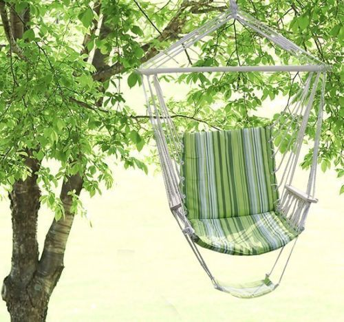 Garden-Swing-Hammock-Hanging-Chair-Seat-Padded-Cushion-Striped-Cotton-Outdoor