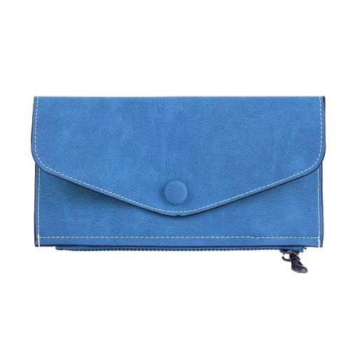 Damara Womens Zipper Snap Safe Faux Leather Wallet Card Holder,Blue