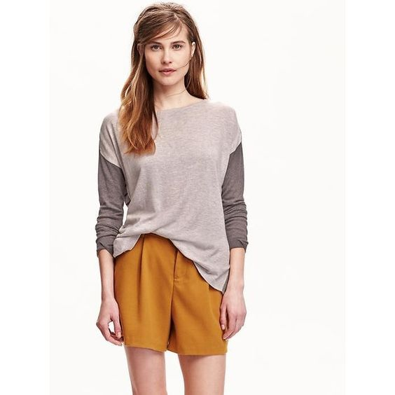 Old Navy Womens Crew Neck Color Block Sweaters ($26) ❤ liked on Polyvore featuring tops, sweaters, brown, boxy sweater, white crew neck sweater, old navy sweaters, striped sweater and crew neck sweaters