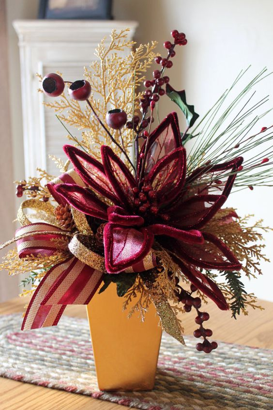 Burgundy gold christmas centerpiece free by