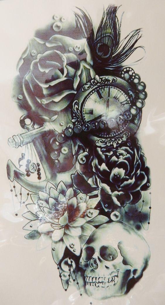 Large Cool Black Rose, Skull Temporary Tattoo