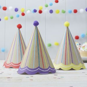 Pom Pom Kraft Paper Party Hats - children's parties