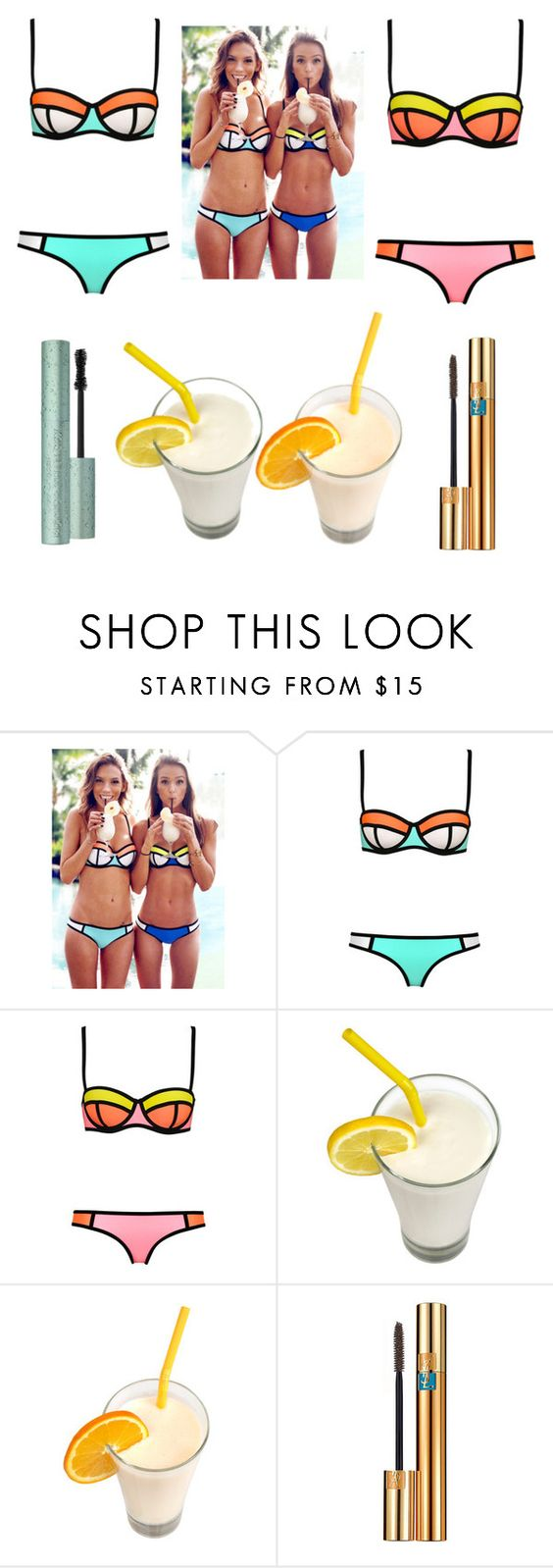 """Bikini party"" by arina-bianca ❤ liked on Polyvore featuring WithChic and Yves Saint Laurent"