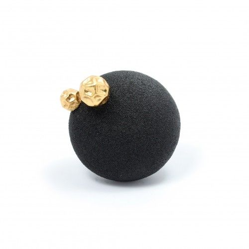 susie ganch | soot ball brooch with boulders Sienna Gallery Enamel, gold leaf, steel 6 x 6 x 4 cm  one of a kind: