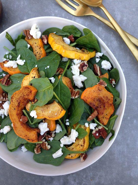 Acorn Squash Spinach Salad: Food Recipes, Spinach Salad, Dutch Recipes, Appetizing Salad, Fall Salad, Squash Salad, Acorn Squash Spinach, Food Salad, Healthy Recipes