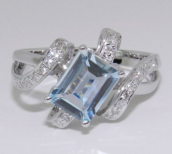 White Gold, Diamond, and Aquamarine, $479.00