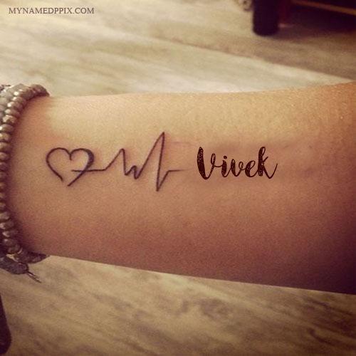 Write Name On Love Heartbeat Tattoo Image Couple Name Tattoos