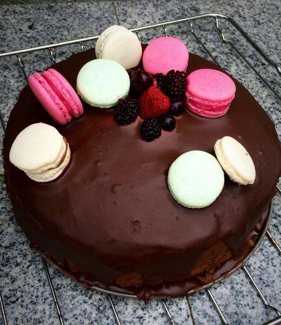 Chocolate cake -Home-made  •chocolate •wildberry •macarons  #proud