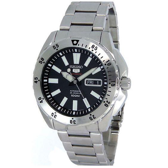 Seiko SRP357 Men's 5 Sports Black Dial Stainless Steel Bracelet Watch,