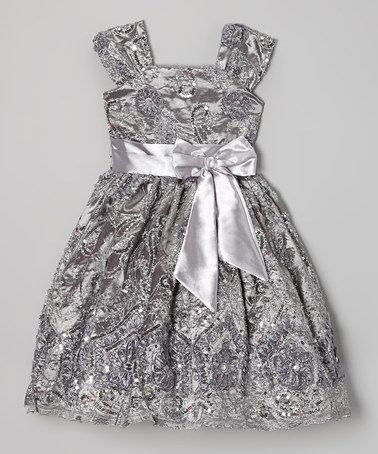 Another great find on #zulily! Silver Floral Sequin A-Line Dress - Infant, Toddler & Girls #zulilyfinds