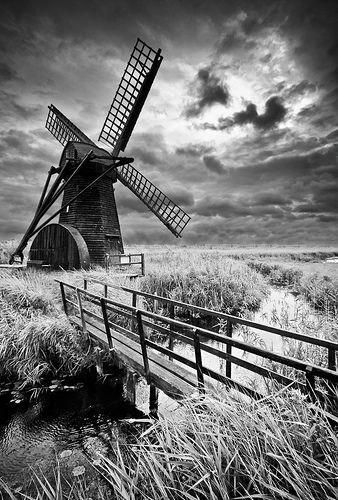 Herringfleet Windmill B Norfolk England #blackandwhitelandscapephotography
