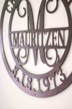 A perfect gift for anyone who is married or about the be married.  Our stylish family anniversary metal sign is beautifully crafted from sturdy 14 gauge steel.  It is available in different colors to match and contrast with any decor.  http://www.radiantmetalworks.com/Personalized-Family-First-Names-Last-Name-Sign-with-Wedding-Date