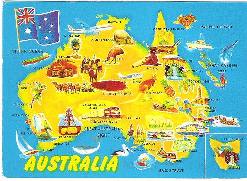Australia map postcard maps maps and more maps – Travel Maps Australia