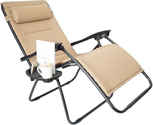 Enjoy Exclusive For Luckyberry Oversize Xl Padded Zero Gravity Mesh Lounge Chair Beige Wider Armrest Adjustable Recliner Cup Holder Support 350 Lbs Online