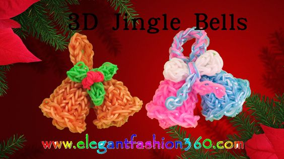 Rainbow Loom Jingle Bells 3D Charms - How to Loom Bands Tutorial/Christm...