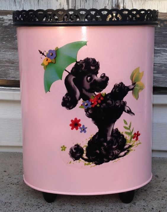 Ransburg Metal French Poodle Trash Can
