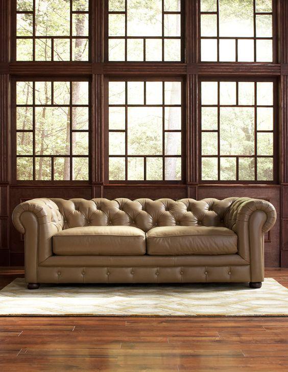 Mad Men style; Tall, dark wood windows #interiordesign   Chester Sofa cort.com