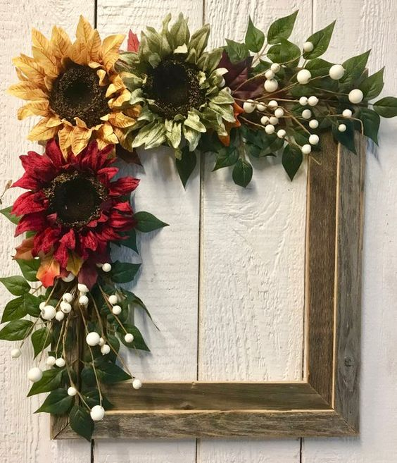 Fall Wreath Wood Frame Wreath Sunflower Wreath Rustic | Etsy