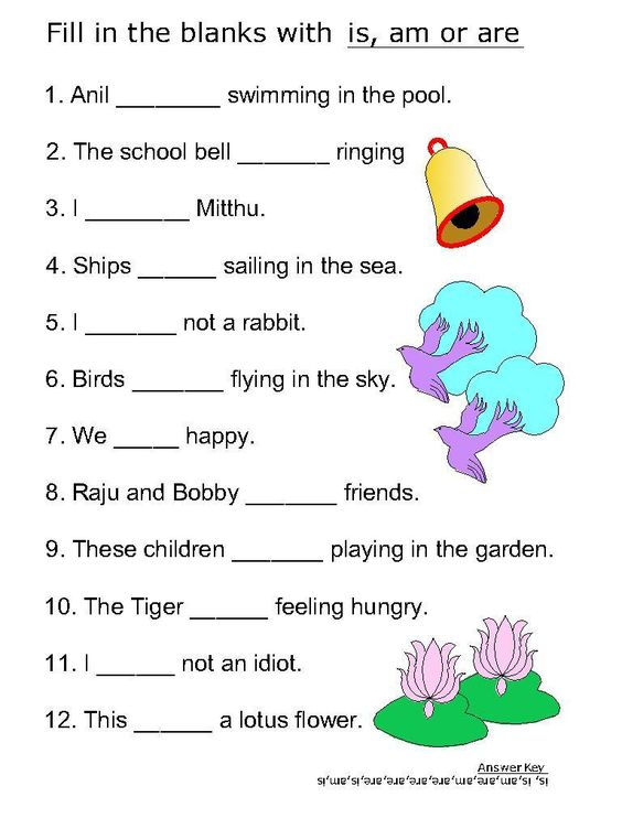 work sheets for kids | ... verb worksheets for Is, Am, Are ...