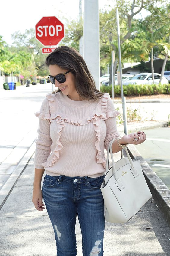 Blush Sweater and distressed jeans
