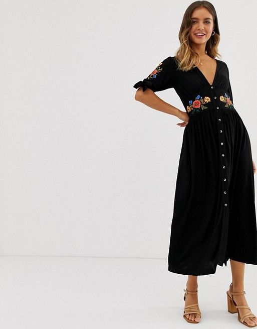Asos Design Embroidered Midi Button Through Tea Dress Asos Tea Dress High Tea Dress Summer Fashion Dresses
