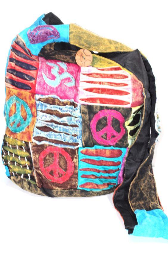 PEACE & OM PATCHWORK JHOLA SLING BAG